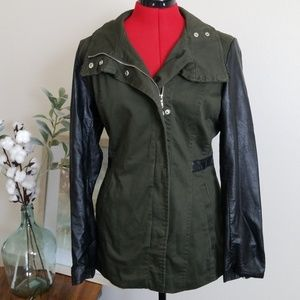 H&M Military Jacket with Faux Leather Detail